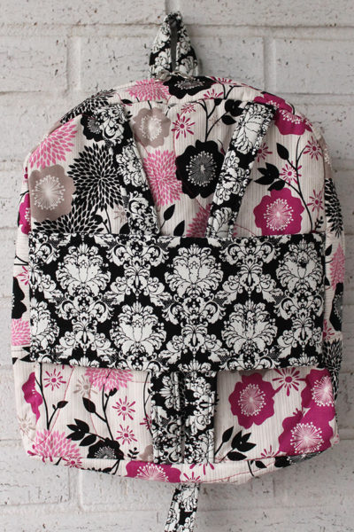 Fuschia Damask Doll Carrier Backpack