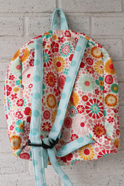 Back View of Flower Dot Doll Carrier Backpack for 18 inch dolls
