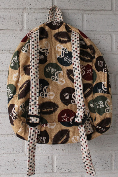 Back View of Football Star Doll Carrier Backpack for 18 inch boy dolls