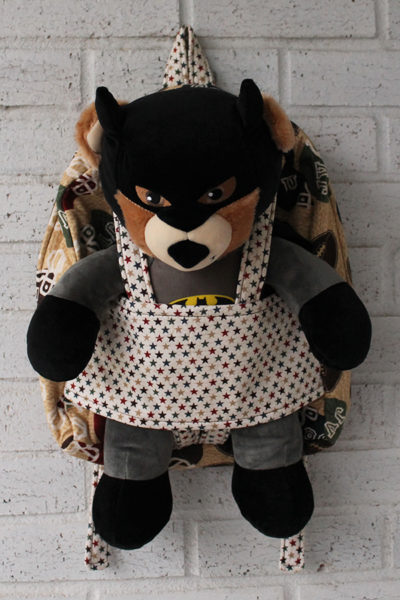 Football Star Doll Carrier Backpack with Build-a-Bear animal inside it
