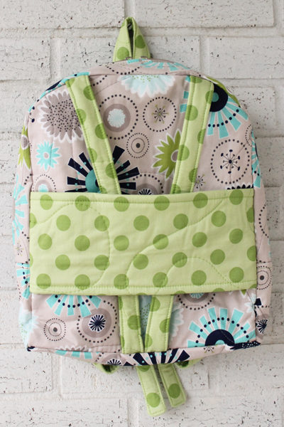 Gracie Girl Green Dot Doll Carrier Backpack for 18 inch dolls Front view