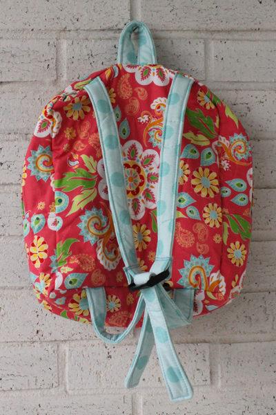 Medium Flower Dot Doll Carrier Backpack Back View