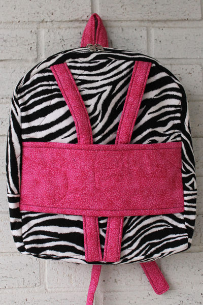 Hot Pink Zebra Doll Carrier Backpack Front View